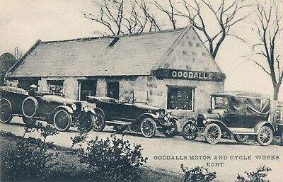 Vintage Goodall's Motor and Cycle Works, Echt, Scotland Great Old Cars Postcard,