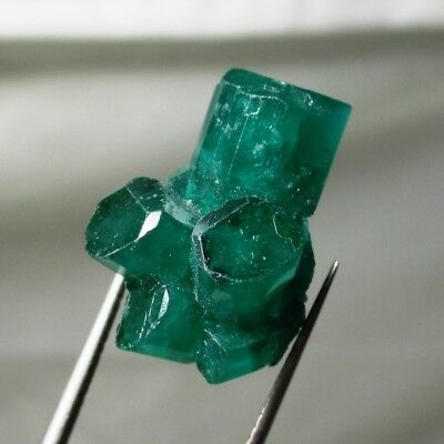 16.4 ct Chatham emerald cluster - lab grown actual emerald cluster