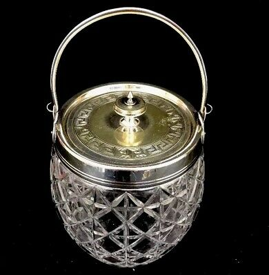 Antique Cut Glass Crystal Biscuit Cookie Jar Silverplated Greek Key Bail Handle