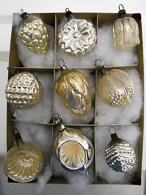 9 Antique Silver Glass Embossed Figural Tree Ornaments German, Japan