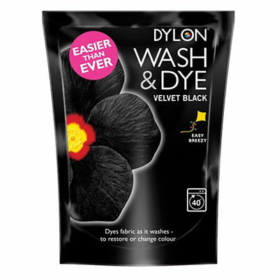 Dylon Wash & dye Velvet Black Fabric Clothes Machine Dye 350g Easy Breezy New UK