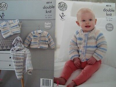 King Cole 4814  Baby's Cardigans & Blanket DK Knitting Pattern Sizes 12-20""