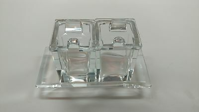 Vintage French Crystal Glass Mustard Condiment Jars and tray set
