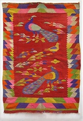 IMPRESSIVE ANTIQUE ANDEAN PEACOCK TAPESTRY BLANKET 80 yrs. Hand-spun wool TM7554