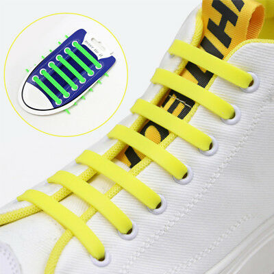 12PCS Easy No Tie Shoelaces Safe Silicone Shoe Lace Fashion Sneaker Shoestring