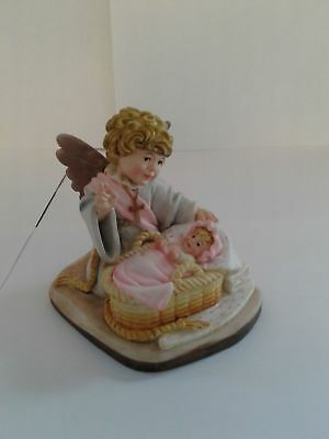 Toriat Handpainted Figurine by ANRI - Blessing Angel New Baby Girl Discontinued