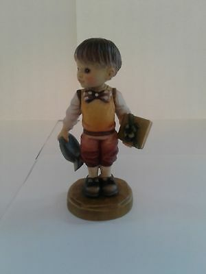 Sarah Kay Wooden Figurine By Anri - Boy Holding Gift & Cap Discontinued
