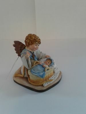 Toriat Handpainted Figurine by ANRI - Blessing Angel New Baby Boy Discontinued