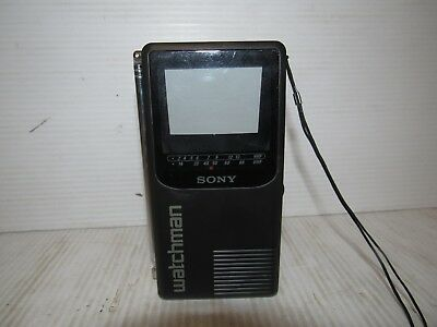 Sony Watchman FD-230 Portable Battery Operated Flat Black & White TV