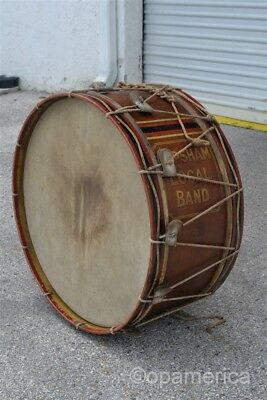 """Antique Late 19th century 29"""" Marching Band Bass Drum Topsham Maine Local Band"""