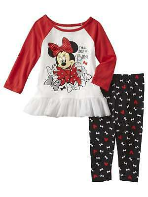 Infant Girls Minnie Mouse Baby Outfit All About the Bows Shirt & Leggings 12m