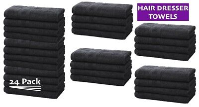 Hairdresser Hand Towels | Salons, Spa Towels | 12 Pack or 24 Pack | BLACK