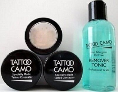 New Tattoo Camo Complete Coverage Tattoo Concealer Paste Double Kit w/ Remover