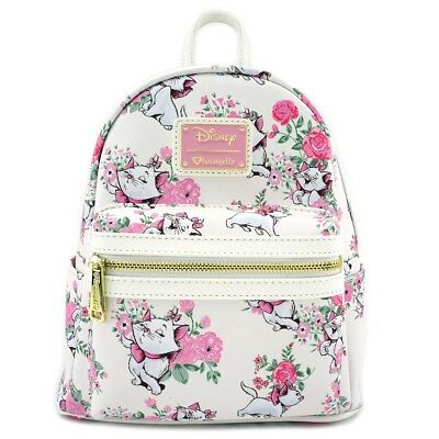 $ LOUNGEFLY DISNEY School Bag Backpack MARIE CAT ARISTOCATS Faux Leather White