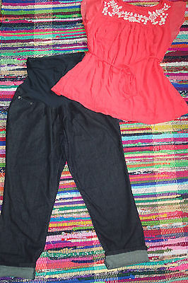 Beautiful Maternity Outfit Size XL,embroidered,motherhood,skinny jeans cropped