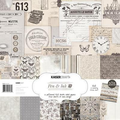 "Kaisercraft - PEN & INK - 12x12"" Paper Pack with Bonus Stickers"