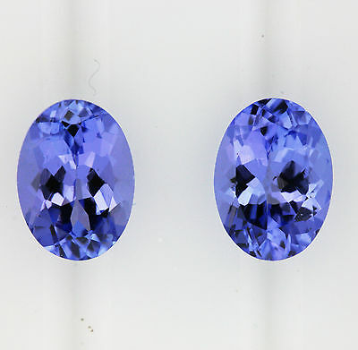 TANZANITE NATURAL 0.90ct!! MATCHING PAIR EXPERTLY FACETED IN GERMANY +CERT