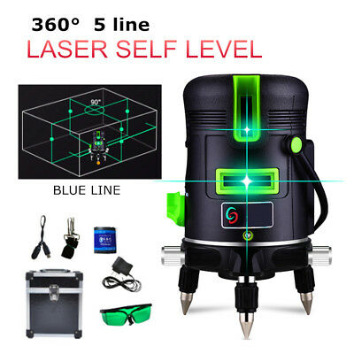 5 Line Cross Laser Level Blue 3D 360° Rotary Auto Self-Leveling Measure Tool Set