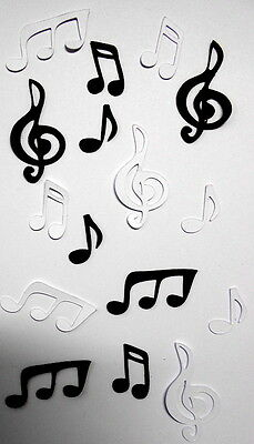 MUSIC NOTES ~ Black & White Die-cuts x 16 ..GREAT FOR SCRAPBOOKING/CARDMAKING