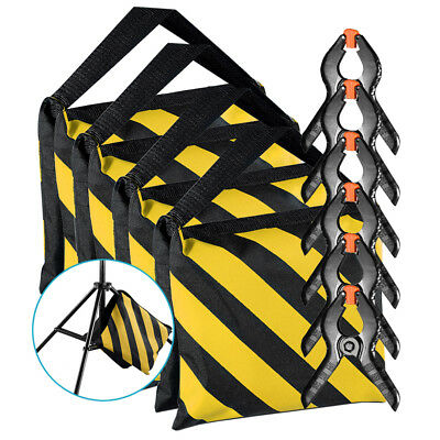 Neewer 4pcs Yellow/Black Sandbag with 6 Backdrop Spring Clamps for Light Stands
