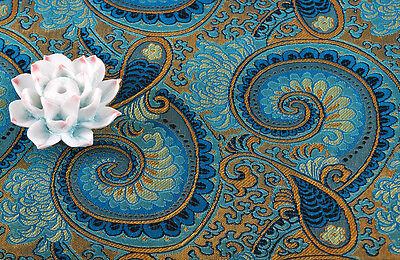 "By 100Cm ,36"" China Silk Damask Jacquard Brocade Stain Fabric : Peacock Nautilus"