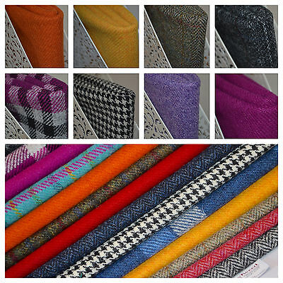 Harris Tweed Fabric & FREE Labels ALL COLOURS & SIZES craft herringbone tartan