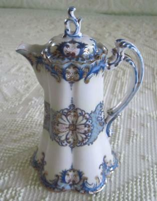 Vintage Ornate Blue and Gold Trimmed Chocolate Pot