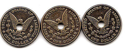 3 USA  Brass 1 Dollar Tokens Old Nice Condition