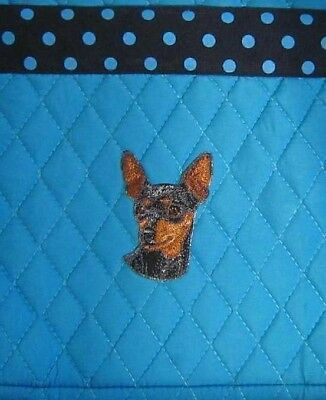 Microfiber MIN PIN Dog Breed Quilted Fabric Crossbody Shoulder Bag Purse