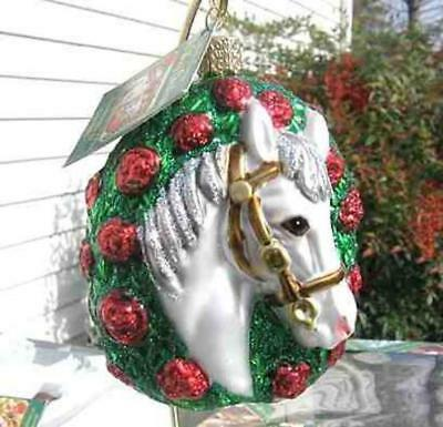 Holiday HORSE CHAMPION Grey Blown Glass Christmas Ornament RETIRED 2013