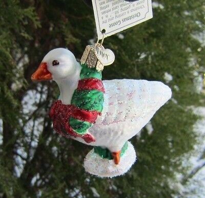 Old World Christmas WHITE GOOSE Blown Glass Ornament Retired 2014