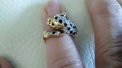 Vintage Gold Plated Black Crystal CZ Figural PANTHER Woman's Ring Size 4.5 Pinky