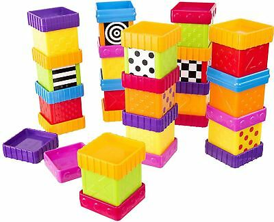 Sassy SENSORY BLOCKS DELUXE STARTER SET Baby Stack Toy Easy Building BN