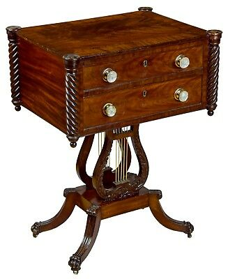 SWC-Classical Mahogany Carved Lyre Worktable, c.1820