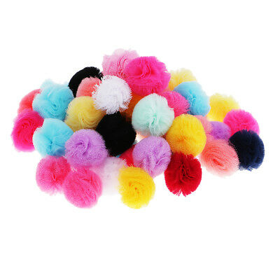 50pcs Mixed Mesh Gauze Pompom Ball Embellishment for Clothes Decoration 25mm