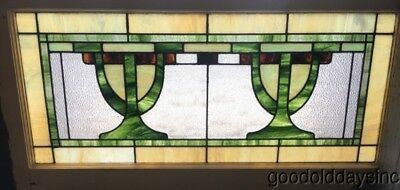 """Antique Stained Leaded Glass Transom Window 42"""" by 21""""  Circa 1920"""