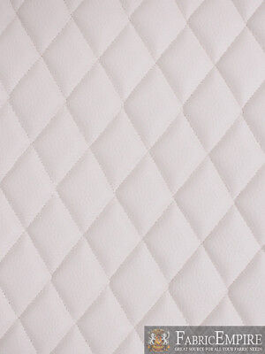 """Vinyl Grain Texture WHITE Fabric Quilted2""""x3""""Diamond 3/8""""Foam Upholstery52""""w/BTY"""