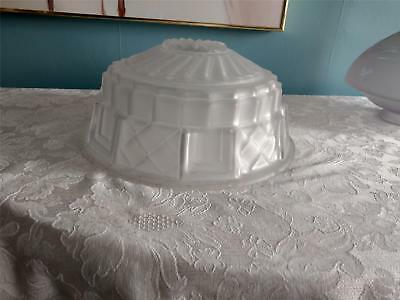 "Antique Frosted Glass Hanging Light Shade 11 3/4"" Geometric Arts Crafts Etched"