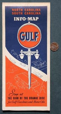 1930s Great Depression Era Gulf Oil Gas station North & South Carolina road map!