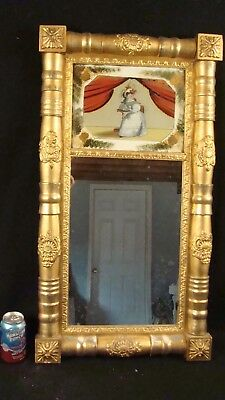 Antique Carved Gilt Wood Federal Reverse Painted Seated Woman Wall Mirror
