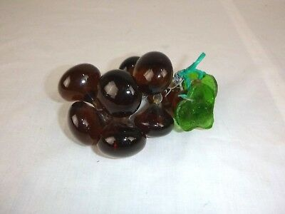 "Vtg Mid Century Brown Lucite Glass Grapes w/ Leaves Bunch Cluster 6""L"