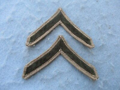 WWII US Marine Insignia Private 1st Class Chevrons Pair USMC PFC WW2