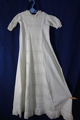 """Victorian Christening Gown -Tucking & Ornate Eyelet -41""""Long- BEAUTIFUL- SALE"""