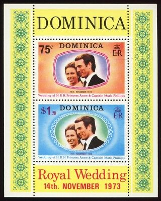 Dominica # 373a Souvenir Sheet - Royal Wedding 1973