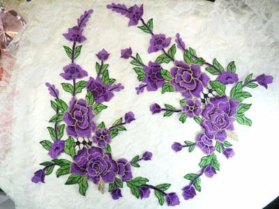 b35a82a5638 Embroidered Floral 3D Applique Mirror Pair Purple Craft Patch Cluster  (GB588X)