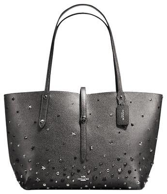 new arrival e6158 5dc8d COACH MARKET METALLIC Graphite Tote Hand Bag Leather Star ...