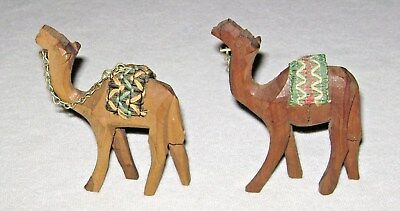 Vintage Pair Hand Carved Wood Camel Figurines with Hand Stitched Blankets