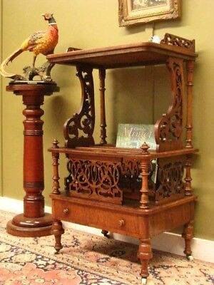 FINE ANTIQUE WALNUT CANTERBURY BOOK MAGAZINE DISPLAY STAND SIDE TABLE  c1880s