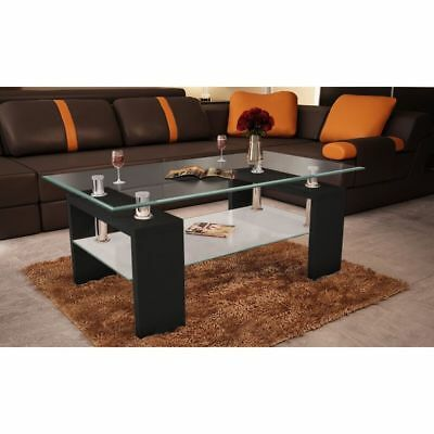 Black Coffee Table High Gloss Glass Top 2 Tiers Modern Design Furniture Bedside