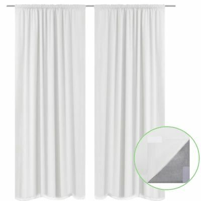vidaXL 2x Blockout Eyelet Curtains Double Layer Room Darkening 140x245cm White